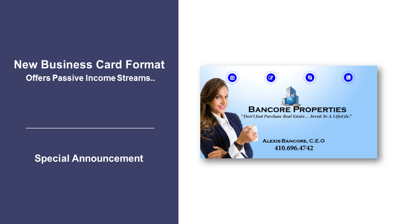 New Business Card Format Offers Passive Income Streams.. – THE ...